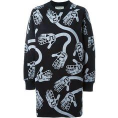 Henrik Vibskov Massage Sweatshirt Dress (€230) ❤ liked on Polyvore featuring dresses, black, sweatshirt dress, kohl dresses, henrik vibskov and black dress