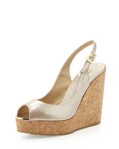 Prova Patent Slingback Wedge, Champagne by Jimmy Choo at Neiman Marcus.