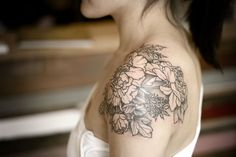 shoulder cap black and white peonies tattoo - Google Search