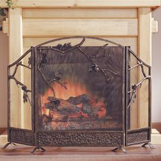 SPI Home Pinecone 3 Panel Cast Iron Fireplace Screen & Reviews | Wayfair