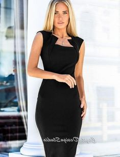Elegant Jersey dress casual wear Midi dress short sleeve Office dress black Casual women's dress Dre