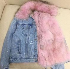 You are living proof of a loving God. Denim Jacket With Fur, Pink Fur Jacket, Mode Hijab, Fashion Killa, Fashion Outfits, Womens Fashion, Winter Outfits, Grunge, Girly