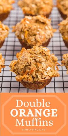 Double Orange Muffins - Packed full of goodness with carrots, orange juice, oat bran, flax seed, Greek yogurt and more. Make the night before to save time in the morning. Healthy and delicious! Healthy Breakfast Recipes, Healthy Recipes, Orange Muffins, Something Sweet, Muffin Recipes, Sweet Bread, Greek Yogurt, Carrots, Food