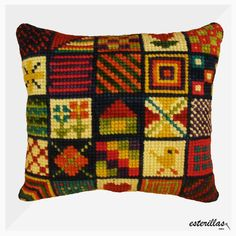 This Pin was discovered by Lyn Needlepoint Pillows, Kilim Pillows, Cushions, Throw Pillows, Cross Stitch Cushion, Palestinian Embroidery, Embroidery Works, Brazilian Embroidery, Crochet Mandala