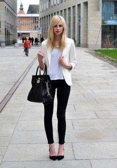 top -HM /skinny -Topshop /blazer - Sheinside/pumps -Zara /bag -Michael Kors /necklace -H & M