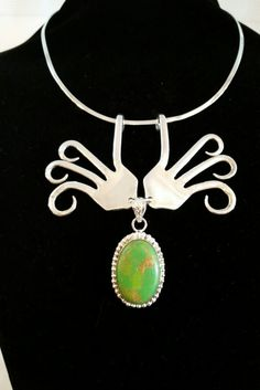 Vintage Sterling Silver Dinner Fork Necklace with Green Turquoise Pendant by TheForkDork on Etsy