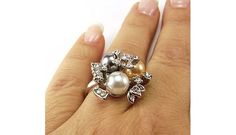 Multi Color Pearl and White CZ Fashion Ring, Sizes 7 & 8 $8.78
