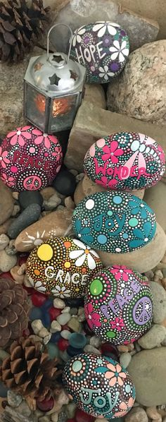 Best diy painted rocks with inspirational word and picture 20