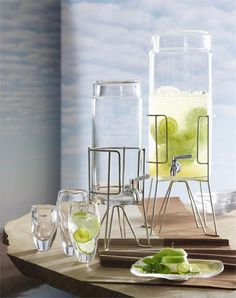 One Gallon Geneva Glass Drink Dispenser on Stand