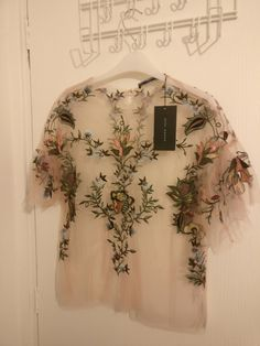 Zara Women's Sheer Embroidery Detailed Top