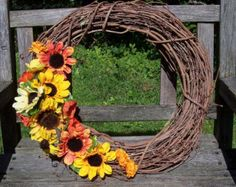 Fall Wreath, Grapevine Wreath, Thanksgiving, large 18 inch, with silk flowers, Sunflowers. Wall decor, door wreath, front door wreath.