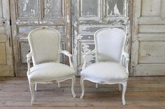 Painted French Linen Chairs from Full Bloom Cottage