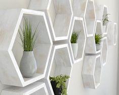 Rustic White Hexagon Wall Shelf in Solid Oak Rustic White image Decor, Shelves, Geometric Shelves, Rustic White, Honeycomb, Hexagon Shelves, Hexagon Wall Shelf, Solid Oak, Hexagon