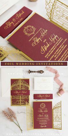 Gold gate design laser cut invitation with burgundy and gold foil monogram wording EWWS298 for fall winter wedding ideas