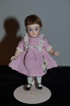 Antique Doll Miniature All Bisque Dollhouse French Loop Sweet French Market