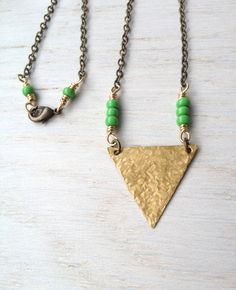 Hammered Raw Brass Triangle Necklace / OOAK Tribal Inspired Geometric Jewelry by MuffyandTrudy on Etsy