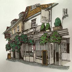 Winchester in pen. #art #drawing #pen #sketch #illustration #black #building #architecture #shops #street #winchester #hampshire #aslevelart #alevelart #graphicart