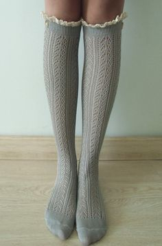 GREY Cable knit boot socks w/ cream lace ivory buttons