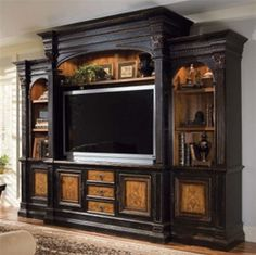 North Hampton Entertainment Console Home Theater Wall in Textured Black Finish with Hand Painted Decoration by Hooker Furniture - entertainment center ideas diy