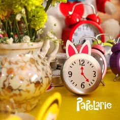 Clocks at an Alice in Wonderland birthday party! See more party ideas at CatchMyParty.com!