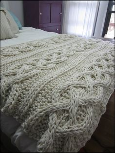 Cable Knit Blanket – Made-To-Order – Knitting Blanket 2020 Knitted Afghans, Knitted Throws, Knitted Bags, Cable Knit Blankets, Cama Queen, Chunky Blanket, Manta Crochet, Knitting Projects, Decoration