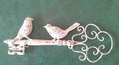Key - Skeleton key - Metal bird key - French country - Paris chic - vintage home  decor. $14.00, via Etsy.
