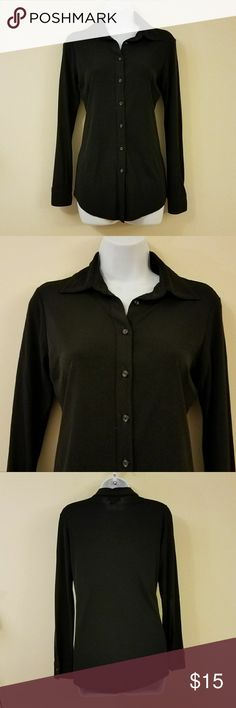"Express Black Front Button Down Shirt Product Description  Brand-Express  Women's Size-XS  Material- 61% Rayon; 39% Polyester (Dry Clean Only)   An Express black front button down shirt with long sleeves. Tagged Size XS, but please see measurements for proper fit.    Bust: approximately 17"" Length: approximately 27"" Sleeve: approximately 24""  Pre-Owned - Regular wear and tear. Good condition.  Please see all photos before purchasing and let me know if you have any questions! Express Tops…"