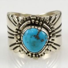 Kingman Turquoise Ring by Lutricia Yellowhair - Garland's Indian Jewelry. $196