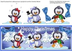 Snow Penquins and snowman on Craftsuprint designed by Ceredwyn Macrae - A lovely D.L of the snow Penquins and a little snowman a delightful card front for any child or adult to receive at Christmas,  - Now available for download!