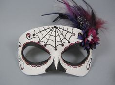 Deluxe Purple Day of the Dead Spiderweb Skull and by maskedzone, $60.00