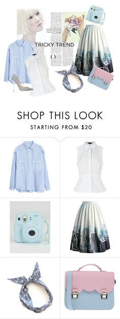"""cute and romantic"" by lisnahamad ❤ liked on Polyvore featuring MANGO, Alexander Wang, Fujifilm, Chicwish, La Cartella, Jimmy Choo, TrickyTrend and highneckblouse"