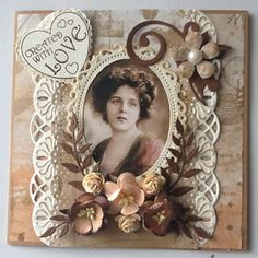 Mijn kaarten bloggie Heritage Scrapbook Pages, Vintage Scrapbook, Scrapbook Page Layouts, Scrapbook Cards, Hand Made Greeting Cards, Making Greeting Cards, Altered Canvas, Shabby Chic Cards, Fabric Journals
