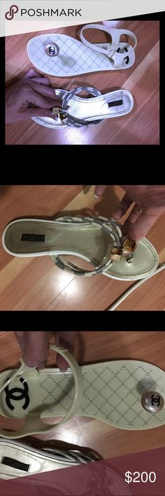 Mismatched flats: 1 Louis Vuitton, 1 Chanel Where are the other sides, nobody knows- use for authentic hardware. Any offer considered. Louis Vuitton Shoes Sandals
