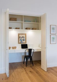 Home Office Furniture: Choosing The Right Computer Desk Computer Nook, Desk Nook, Office Nook, Guest Room Office, Home Office Space, Home Office Design, Desk Office, Hidden Desk, Built In Desk