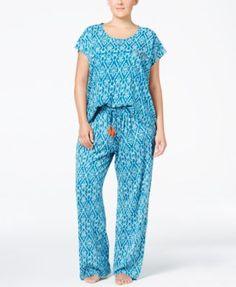 Lucky Brand Plus Size Printed Knit Pajama Set