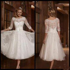 2016 Cheap Tea Length Wedding Dresses Short Sheer Lace Satin Vintage Tea Length Wedding Dress