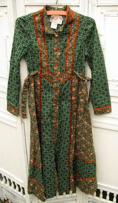 Vintage 1970's Gunne Sax Dress Green and by scooterbugrevival, $58,00