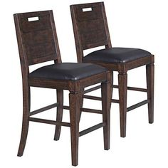 This rustic pine wood counter height chair set of two is handsomely paired with dark chocolate brown faux leather seats.
