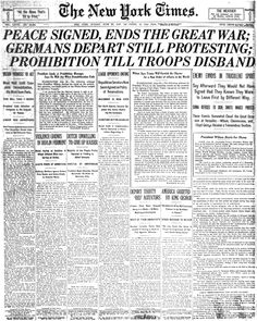 The Treaty of Versailles put restrictions on German military, placed massive fines, and basically put all the blame for the war on Germany. The treaty also confiscated territory from central powers. The Treaty of Versailles upset the Germans. 5th Grade Social Studies, Teaching Social Studies, Treaty Of Versailles, Modern World History, Vintage Newspaper, Newspaper Headlines, History Projects, World War One, History Facts