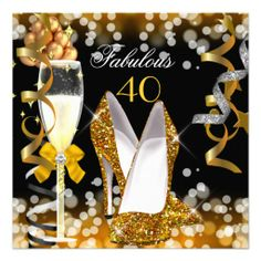 Fabulous 50 Gold Black Yellow  Bubbles Party Invitation