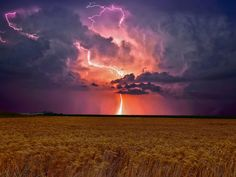 Natures power in the Prairies by Kevin Pepper  #landscape #lightning #thunderstorm #fields #sky #weather #nature #photography