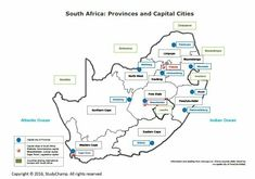 Grade 4 Geography: Map of South Africa Geography Worksheets, Geography Map, Free Worksheets, South Africa Map, South Afrika, Exam Papers, City Maps, Study Materials, Afrikaans