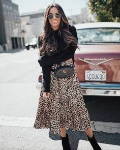 Casual Fall Outfits That Will Make You Look Cool – Fashion, Home decorating Printed Skirt Outfit, Leopard Skirt Outfit, Midi Rock Outfit, Midi Skirt Outfit, Jumper Outfit, Leopard Print Skirt, Pleated Midi Skirt, Printed Skirts, Skirt Outfits
