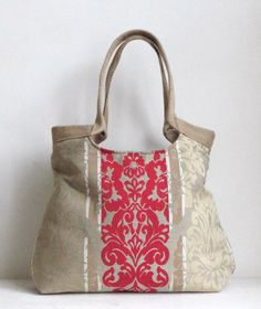 Red damask hobo bag
