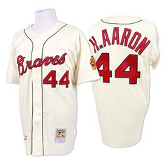 fee69789c Milwaukee Braves Authentic 1963 Hank Aaron Home Jersey by Mitchell   Ness  Cincinnati Reds Baseball