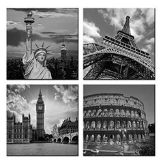 Home Art Contemporary Art Famous Buildings Giclee Canvas Prints Framed Canvas Wall Art for Home Decor Perfect 4 Panels Wall Decorations For Living Room Bedroom Office Each Panel Size:12x12inch
