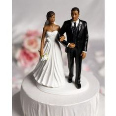 African American Bride And Groom Figurine Wedding Cake Topper
