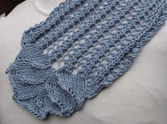 Hyacinth Rib is a fast moving, dainty scarf that can be created in any type of yarn.  The main portion of the scarf is knit as one piece with the