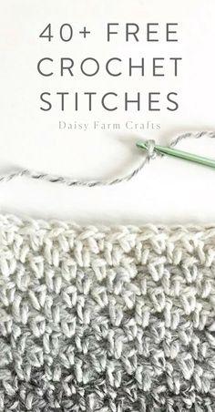 Crochet Amigurumi Ideas 40 Free Crochet Stitches from Daisy Farm Crafts - Stitch Crochet, Crochet Motifs, Single Crochet Stitch, Crochet Stitches Patterns, Tunisian Crochet, Knit Or Crochet, Double Crochet, Crochet Hooks, Free Crochet