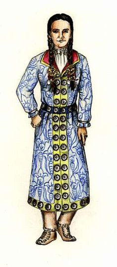 Laszlo's depiction of women's garb in conquest-era Hungary. I really like this overcoat and it's a leading design for Orsolya's garb. Russian Traditional Dress, Traditional Dresses, European Costumes, 16th Century Fashion, Textiles, Historical Costume, Fashion History, Hungary, Female